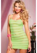 Riot Girly- Net Striped Dress -lime Os