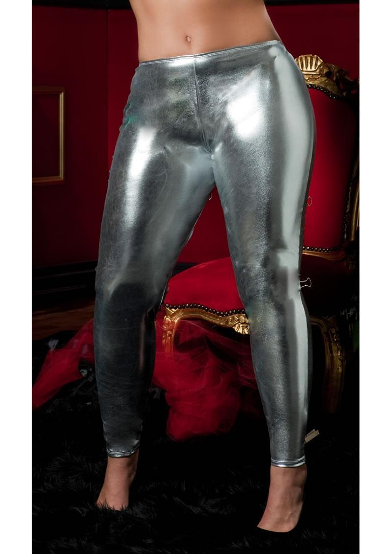 Shiny Stretch Lame Tights-silver Queen