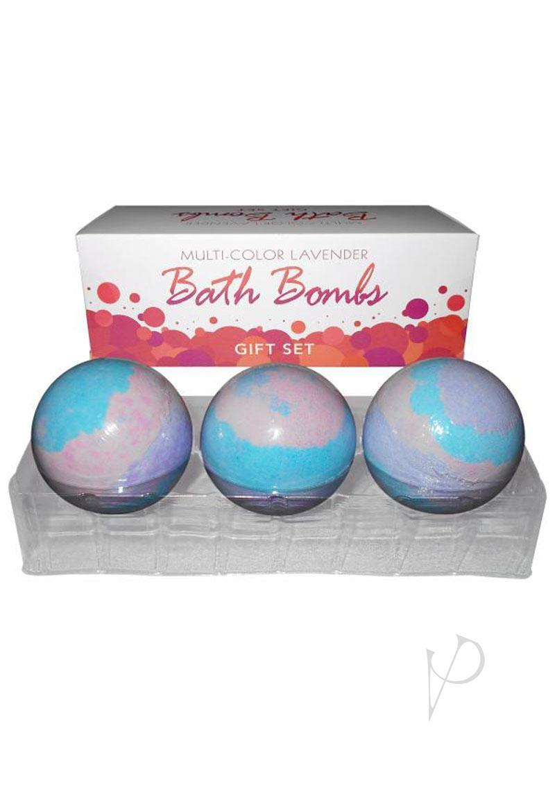 Multi Color Lavender Bath Bombs Gift Set 3 Each Per Box